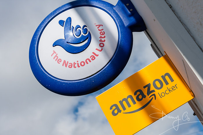 National Lottery and Amazon Locker signs